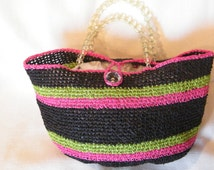 Handbag made from Raffia Yarn. handmade crochet Black, Lime, Bright Pink, ready to ship now.