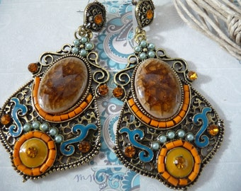 Brass earrings, plated, oxidized, blue, orange, beige, brown, dangle, rectangle, victorian, vintage style