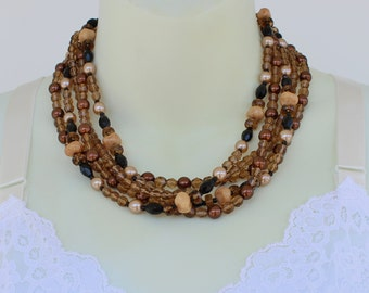 Vintage Multi Five Strand Clear Amber Glass Onyx Black Faux Pearl Bronze Brown Faceted Free Form Beaded Necklace