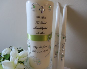 Three Piece Monogrammed Unity Candle set with verse  - Two Lives....