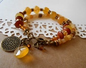 Boho Earthy Multi-strand Golden Agate Jade Gemstone Wooden Beads Bracelet Brass Crystal Charm Bracelet
