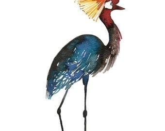 Watercolor exotic bird art print