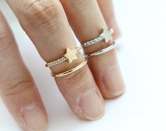 Star 2 lines ring / adjustable ring, knuckle ring / choose your color, gold and silver