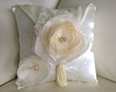 Beautiful Wedding Ring Bearer Pillow in ivory and cream, wedding flower ring pillow, flower girl accessories