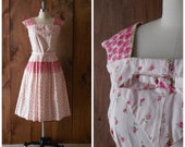 SALE - 1950s deadstock pink cotton floral day dress with matching belt