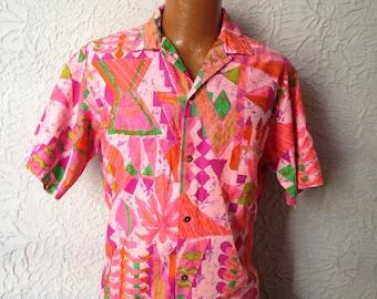 50's/60's Vintage Men's Mod Tiki Hawaiian Shirt medium