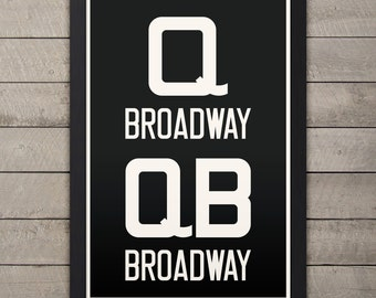 BROADWAY (Queens / Manhattan / Brooklyn) New York City Subway Sign. Bus Scroll. 12 x 18 Rollsign Print