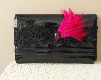 Evening Bag - Vintage Envelope Style Clutch - Special Occasion - Gatsby Style Clutch - 50 to 75 Years Old - Patent Leather Clutch -