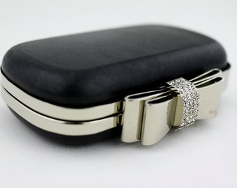 6.5 x 3 3/4 inches - Rhinestone Bow - Silver Oval Shape Dressing Case with Chain Loops - 1 piece (CBF-BOW12)