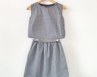 Organic cotton gingham two piece set, Co-ord skirt and top