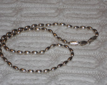 Vintage Sterling Silver Oval Bead Chain Italy Y 925