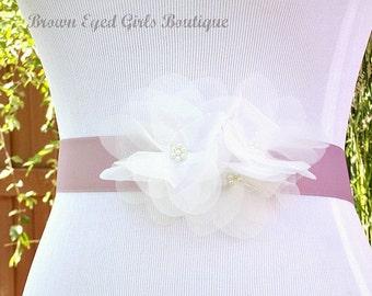 Soft White Organza Flower Bridal Sash, Ivory and Lilac Bridal Belt, Ivory and Lavender Wedding Belt