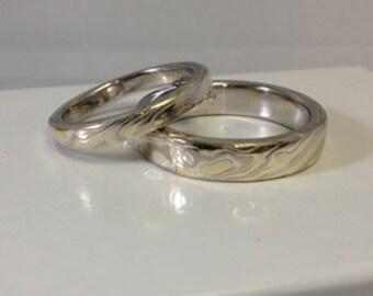 Tri Color Mokume Gane Wedding Bands Two Ring Set create from same billet