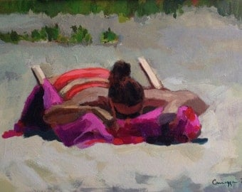 "Original figure painting, ""Sunbather."""