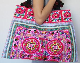 Hmong Bag Ethnic Old Vintage Style Hobo Boho Tote Thai Shoulder Shoppers Bag