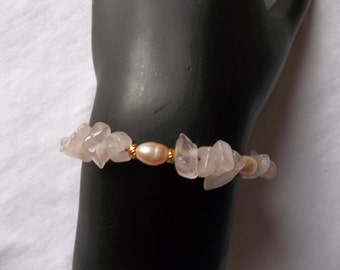 Rose Quartz and Pink Pearls Memory Wire Bracelet
