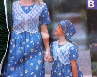 1997 90s Style Mother Daughter Dress Simplicity 7528 Multi Sizes Misses XS-XL and Girls 3 4 5 6 7 8