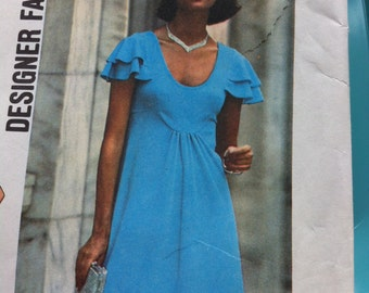 Vintage 70s Pattern Simplicity Designer Fashion No. 7836 Size 16 Dress Two Lengths Designer KNIT Low CUT DRESS Softly Gathered