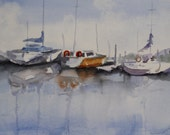 Boat Painting - Original Watercolor - Sailboats Seashore - Nautical - Boat painting - Fine Art - wall art - wall decor beach - Original Art