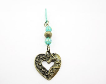 Bronze Heart Shaped Horse Purse Charm Zipper Pull Green Czech Beads 361