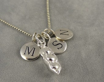 Personalized Three Peas in a Pod Initial Necklace - Silver - Custom Necklace - Three Initials - Family - Gift Idea Mom, Grandma