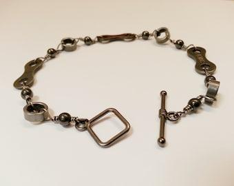 Bike Chain Bracelet Hand Wired Gun Metal with Hematite Wedding Bridesmaids Birthday - LBHEMT