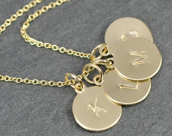 14K Gold Fill Personalized Letter Necklace, Better Quality Initial Discs, Small Arial Font, Hand Stamped, Custom Made, Kristin Noel Designs