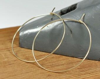 14K Yellow Gold Fill Hoop Earrings, Large Gold Hoops, 2 inch Size, Handmade Everyday Jewelry, Kristin Noel Designs