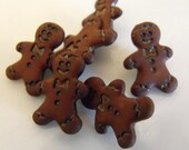 "6 Mini Gingerbread Man Shank Buttons Size 1/2"""