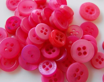 Hot Pink Buttons, 50 Small Assorted Round Sewing Crafting Bulk Buttons