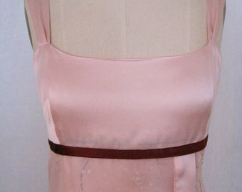 SALE - Blush Pink Silk Charmeuse and Mixed Media Cocktail Dress, Size Small (6)