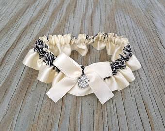 Dog Lovers Ivory Satin & Black Paw Print Wedding Garter With Rhinestone Paw Crystal Charm Bridal Garter Or Garter Set
