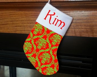 Custom Personalized Christmas Stocking You CHOOSE Colors & Design Damask Red Apple Green