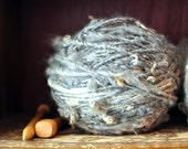 "Bulky Grey Yarn Fleece ""Curly Fluff"" Handspun Sheeps Fleece Blanket Yarn Soft Knitting supplies Crochet supplies Undyed Natural"