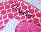Boppy Pillow Cover- Personalized Boppy Cover- Pink Tarika and Bubblegum Pink Minky Boppy Cover with Navy Embroidery
