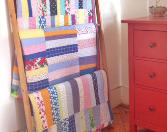 Twin size quilt: Currituck No. 4 quilt | upcycled clothes blue yellow pink purple modern improv strip modern