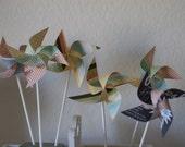Retro Wedding Favor Pinwheels 12 Mini Spinnable Pinwheels  Retro Romance  (custom orders welcomed) wedding favor