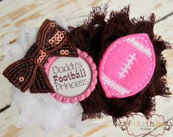 Daddy's football buddy bow hair clip Headband for toddler or big kids 0-6 6-12 12-18 18-24 2-3