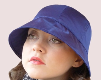 Lucky Bonnet Rain Hat in Royal Blue Waterproof Satin with Elastic Back, Wide Brim Cloche in Navy, Packable, Soft and Stretchy