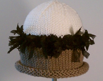 Miss Muffet Baby Hat With Band of Ribbons