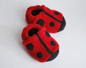Ladybug Baby Booties 0-24 month size - adorable baby gift - soft and fuzzy crib shoes