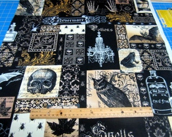 Nevermore Collage in Black and Gold cotton quilting fabric by Michael Miller - Poe, gothic, victorian, halloween,