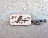 PERSONALIZED INITIALS Keychain - One Day ONLY Sale - Personalized Bird on a Branch with Two Initials...