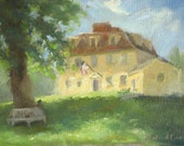 Buckman Tavern, Lexington -  - original plein air oil landscape painting by Keiko Richter 9x12