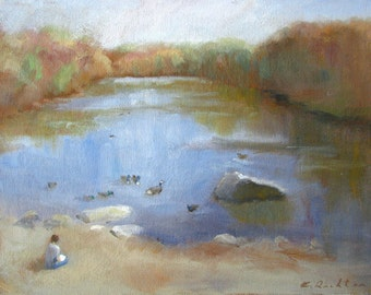 Sketching by a Pond - original plein air oil painting by Keiko Richter 9x12
