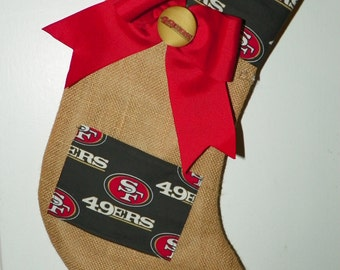 San Francisco 49ers  Stocking for Her with a Pocket for a Small Gift- Burlap Stocking