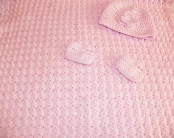 Baby  Girl Afghan Set Light Pink Hand Crochet Size Newwborn-4M
