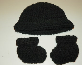 Black Baby Hat Set Sizes Preemie-24 Months   Perfect for a Baby Gift