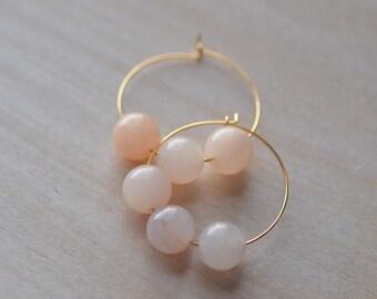 Beaded Hoop Earrings  Pastel Pink Round Bride Wedding Bridesmaid Feminine Girly Soft Pink Light