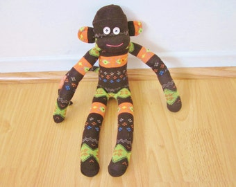 Harvest fair isle sock monkey doll in brown, orange, and green - fall floral